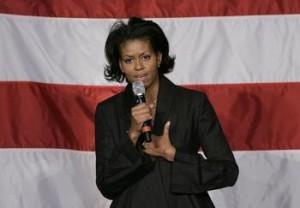 Mrs. Obama on the campaign stump, 2008.