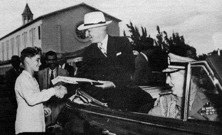 Truman greets a student in Cuba. (HSTL)