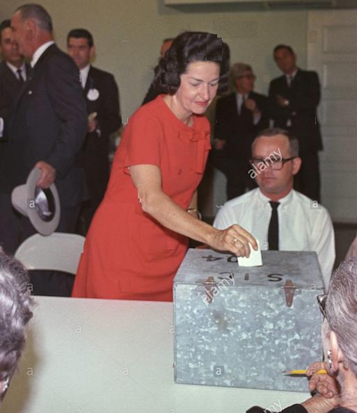 Lady Bird Johnson casts her ballot in 1964 in - where else? Johnson City, Texas.